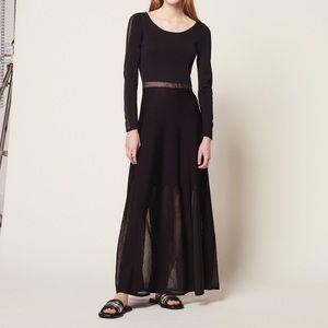 SANDRO Panelled Maxi Mesh Stretch-dress Black 2